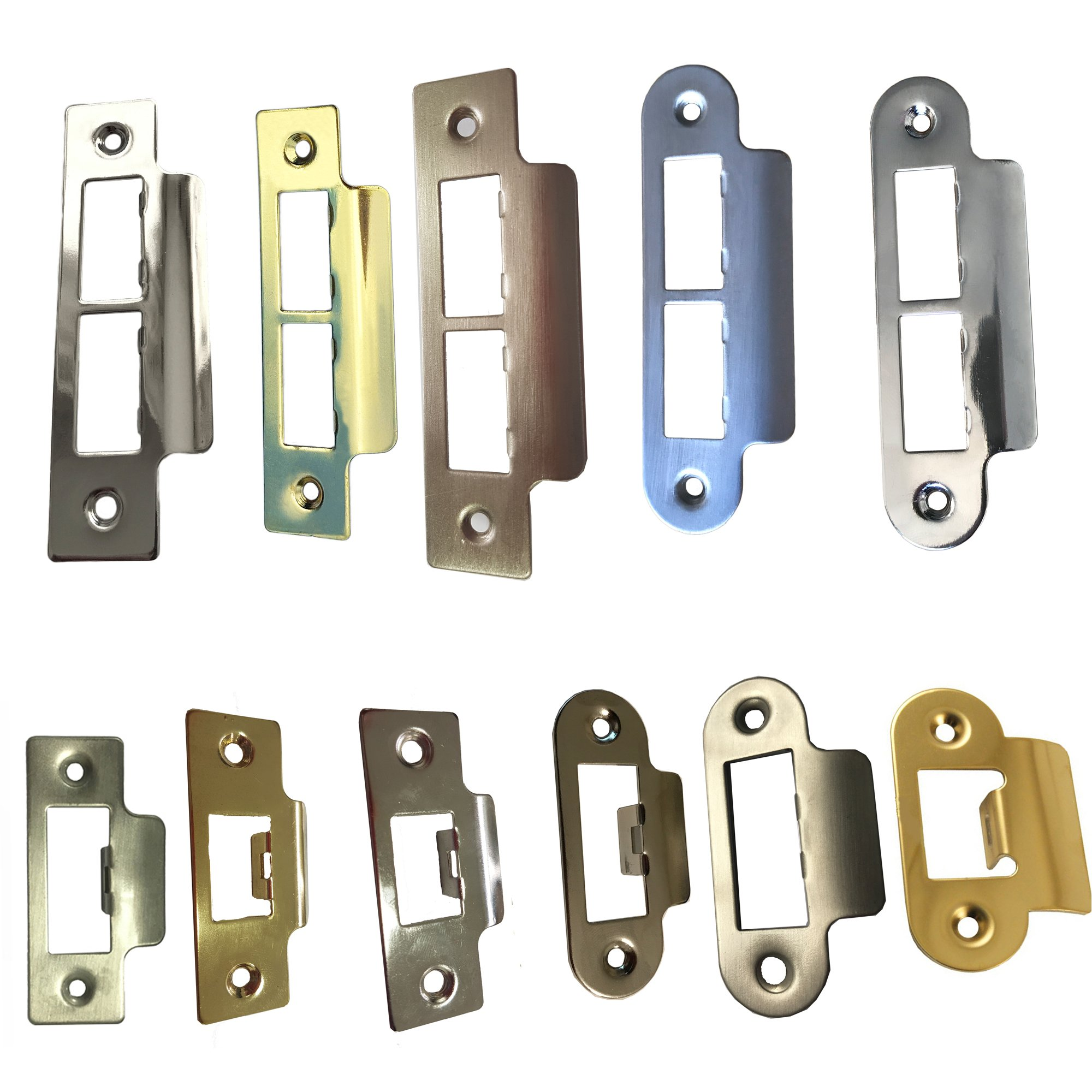 Door Strike Plate Polished Chrome Or Brass Long Plates Tubular Mortice Latch Universal Hardware